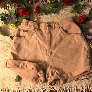 Vintage dusty pink lee high waisted shorts